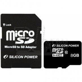 microSD 8Gb Silicon Power Class 10 с адаптером