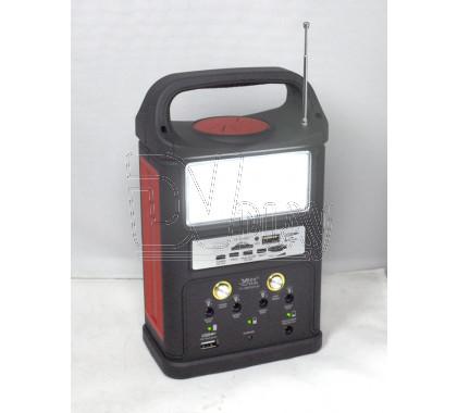 Автономный светильник YJ-1962 аккумуляторный (3 лампочки, солнечная батарея, FM, USB, microSD)