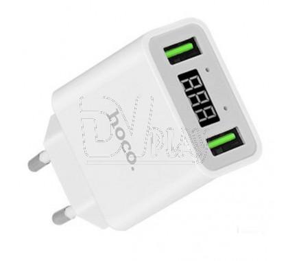 Зарядное устройство 2 USB 2.2A Hoco. C25A с дисплеем белое