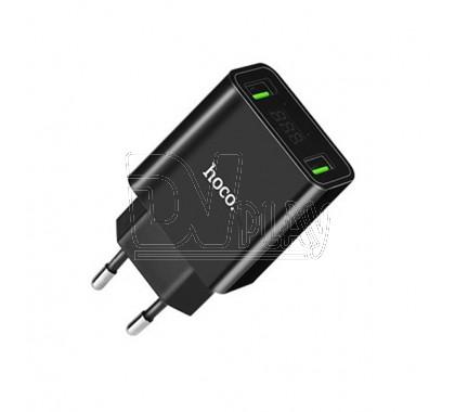 Зарядное устройство 2 USB 2.2A Hoco. C25A с дисплеем черное