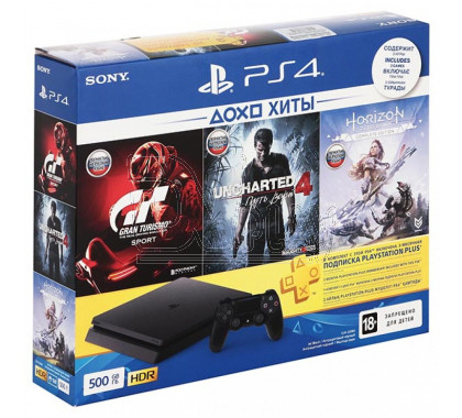 PlayStation 4 Slim 500Gb + 3 игры