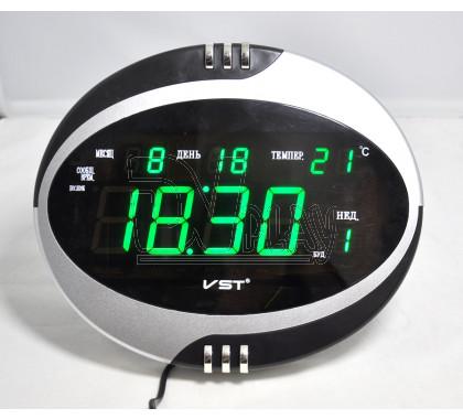 VST 770-T-4 часы настольные с датой и термометром с ярко-зелеными цифрами