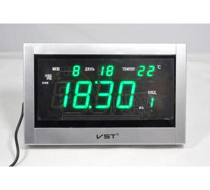 VST 771-T-4 часы настольные с датой и термометром с ярко-зелеными цифрами