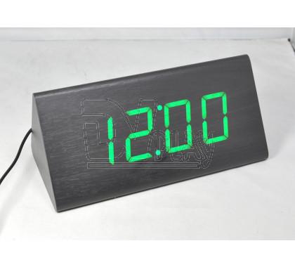 VST-866-4 часы настольные в деревянном корпусе с зелеными цифрами