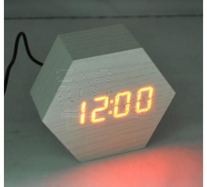 VST-876-1 часы настольные в деревянном корпусе (белый корпус, красные цифры)