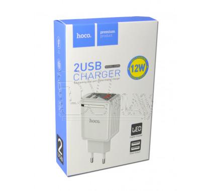 Зарядное устройство 2 USB 2.4A Hoco. C39A с дисплеем