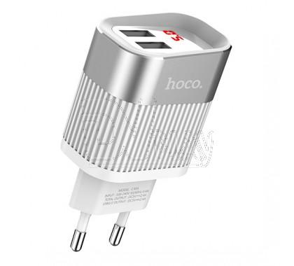 Зарядное устройство 2 USB 2.4A Hoco. C40A с дисплеем