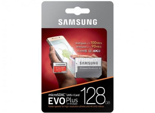 microSD 128Gb Samsung Class 10 Evo Plus UHS-I U3 с адаптером