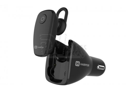 Гарнитура Bluetooth Harper HBT-1723 черная с автомобильной зарядкой
