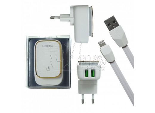 Зарядное устройство 2 USB 2.4A LDNIO A2205 + кабель iPhone 5