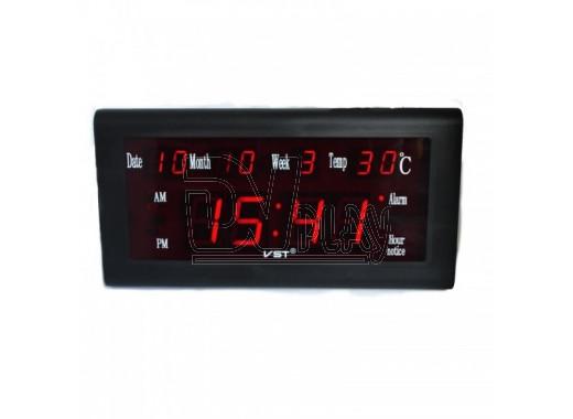 VST 795-W-1 часы настенные с датой и термометром с красными цифрами