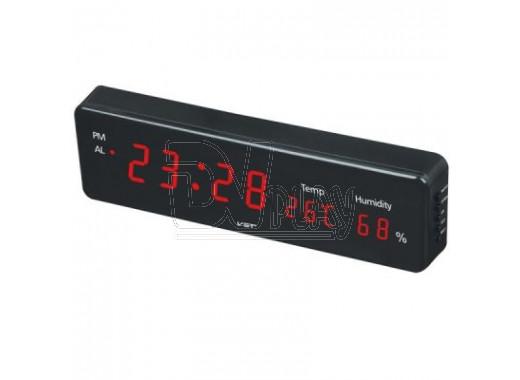 VST 805-S-1 часы настенные с датой и термометром с красными цифрами