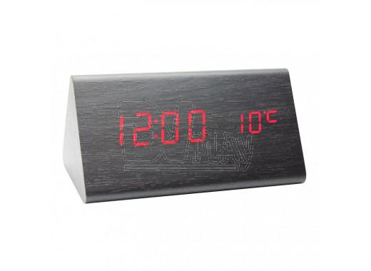 VST-861-1 часы настольные в деревянном корпусе с красными цифрами
