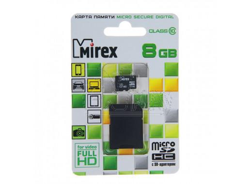 microSD 8Gb Mirex Class 10 с адаптером