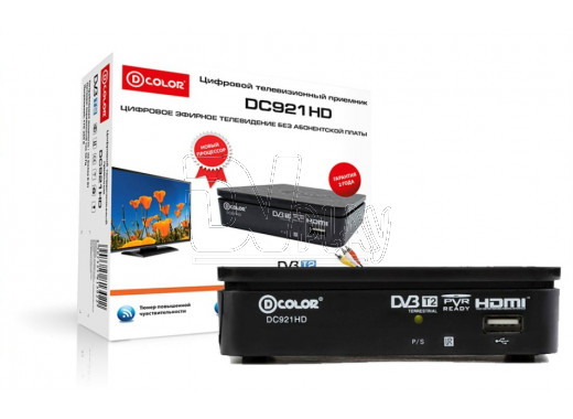 Приставка DVB-T2 D-Color DC921HD + кабель 3RCA