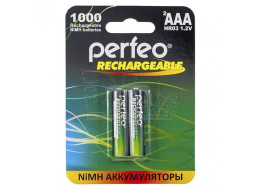 Аккумуляторы Perfeo HR03 1000mAh NiMH BL2 AAA в упаковке 2 шт