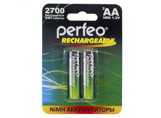 Аккумуляторы Perfeo HR6 2700mAh NiMH BL2 AA в упаковке 2 шт