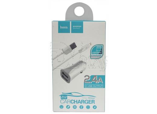 Автомобильная зарядка Hoco. Z12 + кабель Lightning