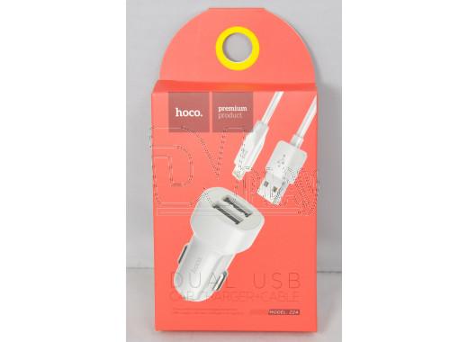 Автомобильная зарядка Hoco. Z2A + кабель iPhone 5