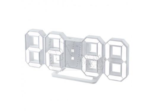 Часы-будильник Perfeo PF-663 Luminous (белый корпус, белые цифры)