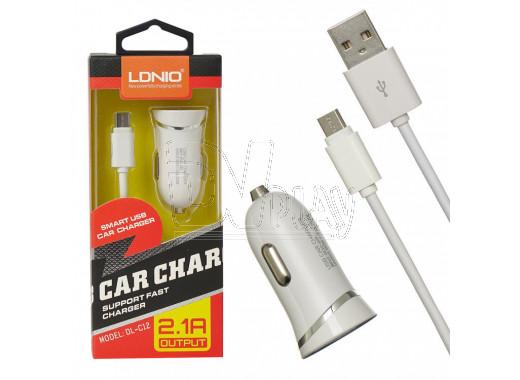 Автомобильная зарядка LDNIO DL-C12 с кабелем microUSB
