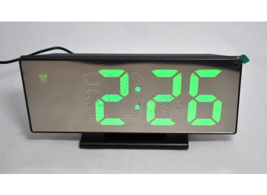 Часы зеркальные DS-3618L (черный корпус, зеленые цифры)