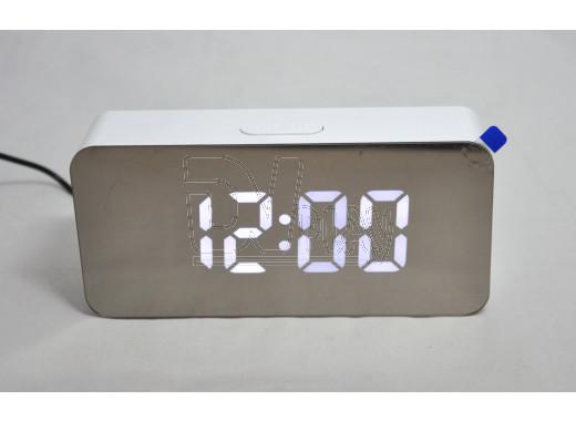 Часы зеркальные DS-3622L (белый корпус, белые цифры)
