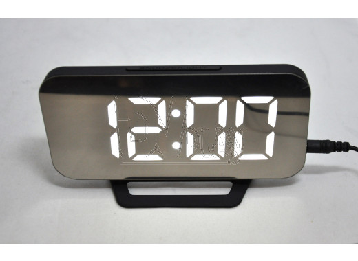 Часы зеркальные DS-3625L (черный корпус, белые цифры)
