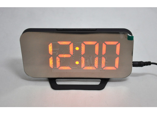 Часы зеркальные DS-3625L (черный корпус, красные цифры)