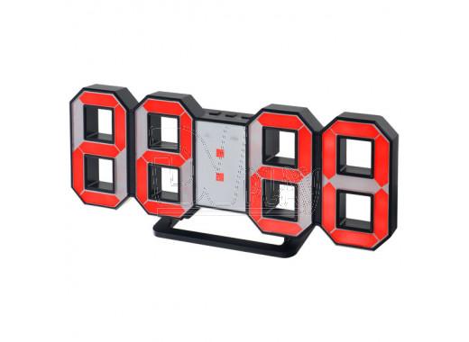 Часы-будильник Perfeo PF-663 Luminous (черный корпус, красные цифры)