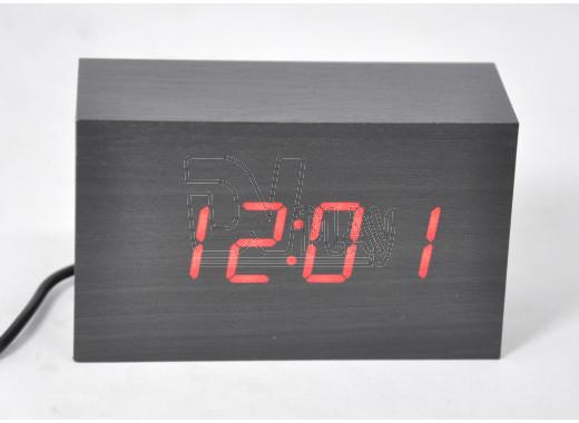 VST-863-1 часы настольные в деревянном корпусе (красные цифры)