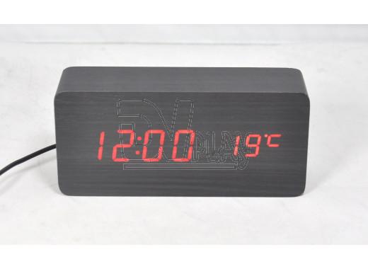 VST-862-1 часы настольные в деревянном корпусе (черный корпус, красные цифры)