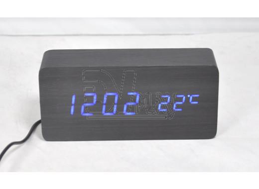 VST-862-5 часы настольные в деревянном корпусе (черный корпус, синие цифры)