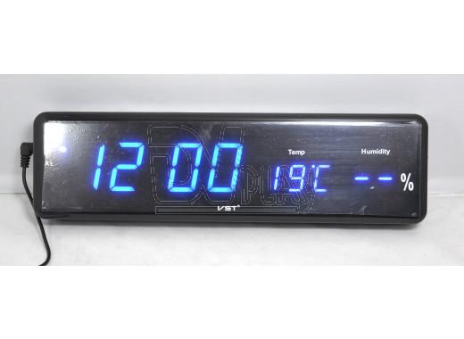 VST 805-S-5 часы настенные с термометром с ярко-синими цифрами