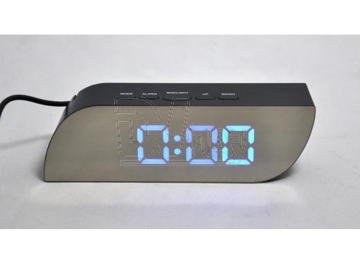 Часы зеркальные 018-5 с синими цифрами