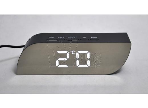 Часы зеркальные 018-6 с белыми цифрами