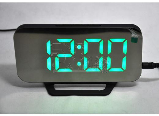 Часы зеркальные DS-3625L (черный корпус, зеленые цифры)
