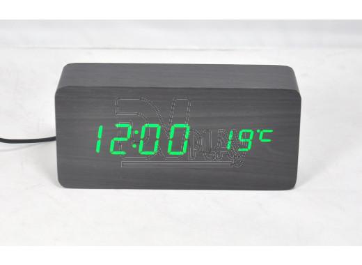 VST-862-4 часы настольные в деревянном корпусе (черный корпус, зеленые цифры)