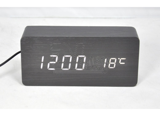 VST-862-6 часы настольные в деревянном корпусе (черный корпус, белые цифры)