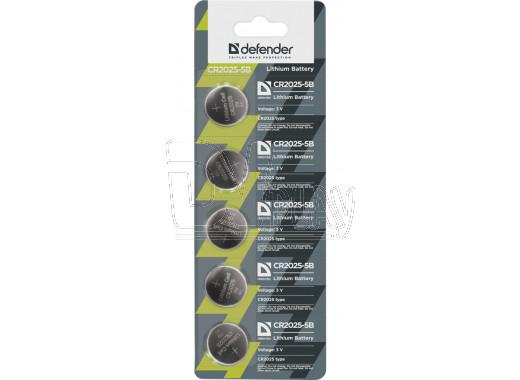 Элемент питания Defender CR2025 BL5 упаковка 5шт