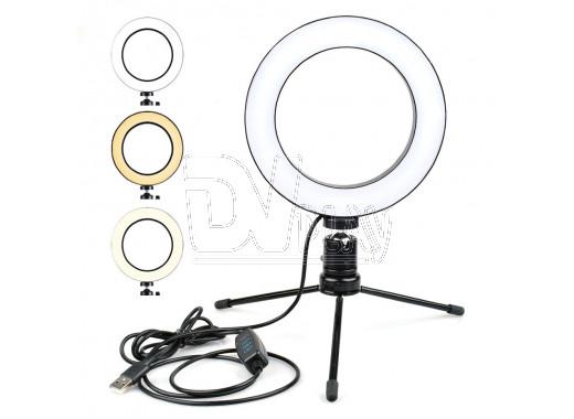 Кольцевая светодиодная селфи лампа 16 см с треногой