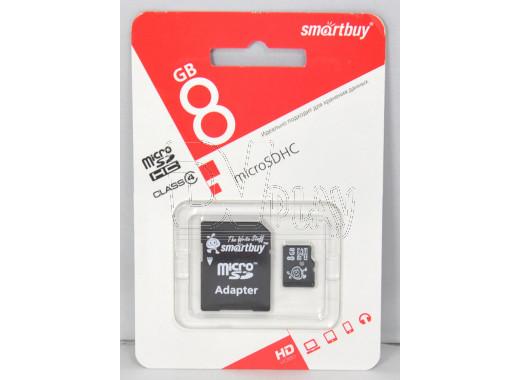 microSD 8Gb Smart Buy с адаптером