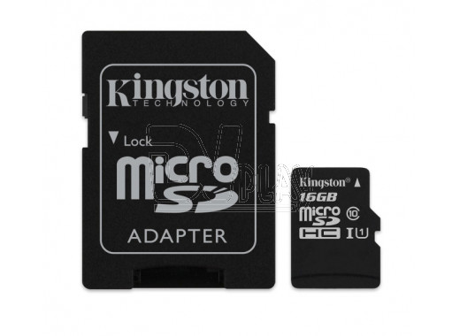 microSDHC 16Gb Kingston Class 10 UHS-I U1 с адаптером