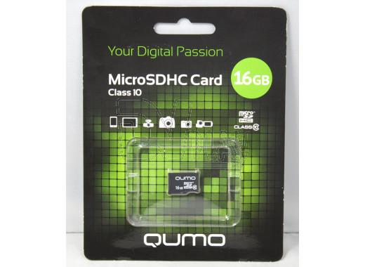 microSDHC 16Gb Qumo Class 10 без адаптера