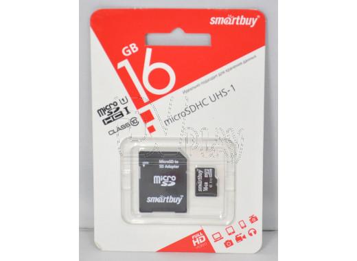 microSDHC 16Gb Smart Buy Class 10 UHS-I с адаптером