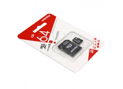 microSDHC 64Gb Smart Buy Class 10 с адаптером