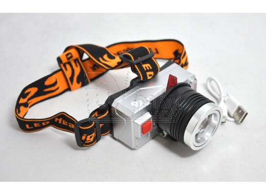Налобный фонарь аккумуляторный YT-T700 3 цвета, microUSB