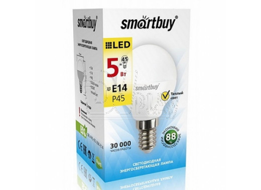 Светодиодная Лампа Smartbuy P45 Е14 5Вт теплый свет