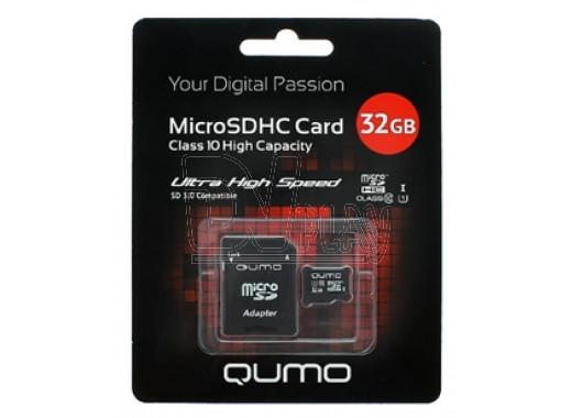 microSDHC 32Gb Qumo Class 10 UHS-I с адаптером