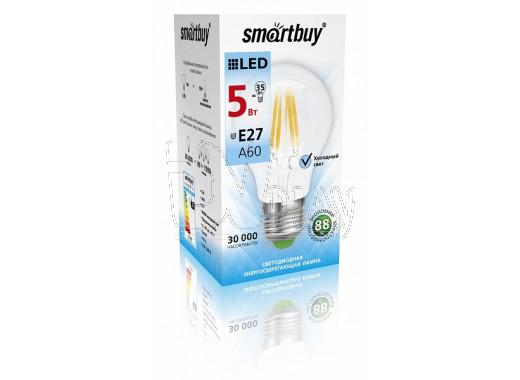 Светодиодная Лампа Smartbuy A60 FIL Е27 5Вт белый свет